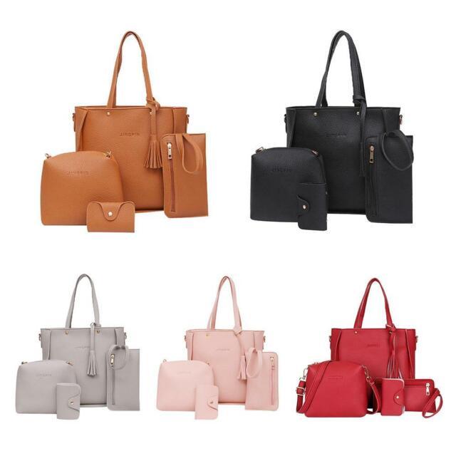e8039b7ab5a5 4pcs/set Litchi Leather Tassel Women Tote Shoulder Handbag Clutch Card Bags  Lady