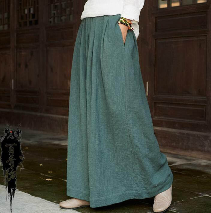 Womens Palazzo Loose Fit Casual Cotton Linen Yoga Pants Summer Long Trousers Hot