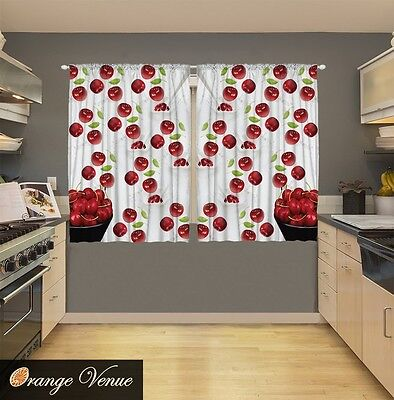 LINED VALANCE 42X12 FARMERS MARKET PACKED CHERRIES CHERRY STEMS MARKETPLACE