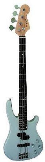 Bass Elektrisch Silber + Tasche Gitarren Plektrum Gurt und Tuner Elektronik Neu
