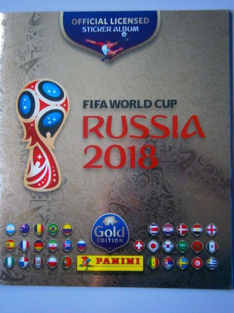 Swiss Gold Panini World Cup Russia 2018 Empty FIFA Football Album & 18 Stickers