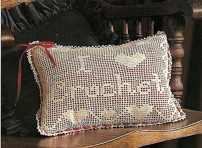 LOVELY I Love Crochet Filet Pillow/Doily/CROCHET PATTERN INSTRUCTIONS