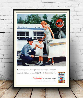 Vintage  oil company poster reproduction. Gulf dealers