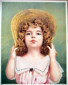 art-print-A-KISS-FOR-YA-Victorian-little-girl-pink-dress-straw-hat-vtg-rep-11x14
