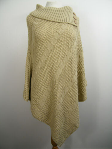 24//26 WOMEN ASYMMETRICAL CABLE KNITTED PONCHO JUMPER CAPE TOP SIZE 16//18,20//22