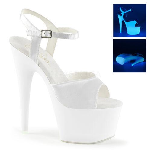 """7/"""" Inch White Satin Platform Glow in the Dark Stripper Heels Pleaser Shoes 7 8 9"""