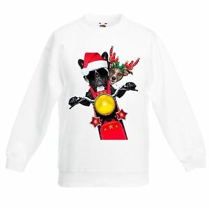 French Bulldog Christmas Jumper.Details About French Bulldog Jack Russell Santa Claus Father Christmas Kids Sweater Jumper