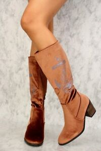 Brown Wool Detailing Front Lace Up Round Closed Toe Rain Boots HEELS 7 7.5
