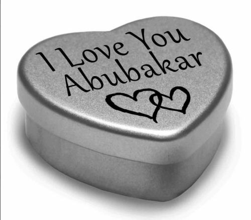 Je vous aime Abubakar mini coeur tin cadeau pour I Heart Abubakar avec chocolats