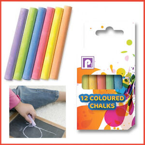 12-Chalk-Stick-Blackboard-Slate-Pavement-Kids-School-Craft-Art-Pub-Message-Board