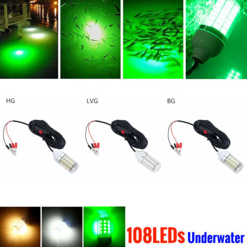 12V 108 LED Green Underwater Submersible Night Fishing Lights Boat Attract Fish