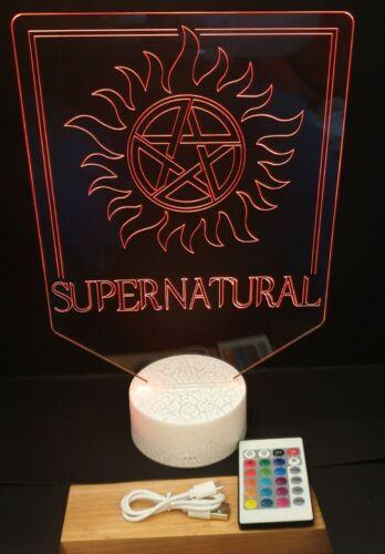 Supernatural Sam /& Dean Winchester Multicolore DEL Télécommande Lumière