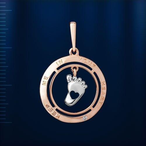 Silber 925 rose gold vergoldet Anhänger mit Diamant Ferse BICOLOR.
