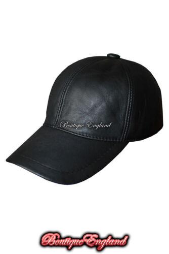 Baseball Black Uomo Donna Vera Pelle Morbida Pelle D/'Agnello Hip-Hop Cap Hat