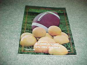 1981 Orange Bowl Football Program Oklahoma Sooners v Florida State Seminoles