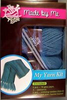 Cable Scarf Yarn Kit 3 Knitting Patterns Needles Tassel Maker Blue made By Me