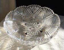 "American Brilliant Bergen ""Meriden""  Cut Glass Low Bowl, late 1800's."