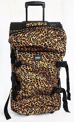 Victoria's Secret PINK~Vacay Wheelie~ roller duffle suitcase Luggage  Leopard