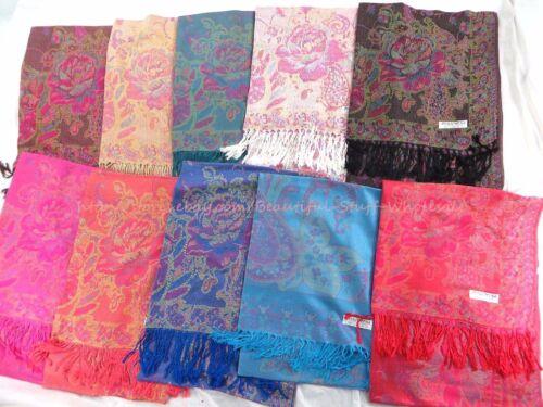 $5.45 each bulk 20 pashmina scarves Wholesale women floral paisley retro