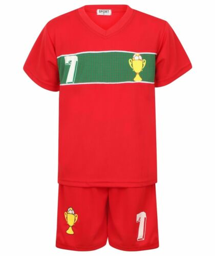 KIDS FOOTBALL JERSEY SPORTS SHORT SLEEVE TWO PIECE KIT 2-14 YEARS