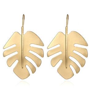 6c975f02d Monstera Tropical Cheese Plant Leaf Gold Drop Dangle Earrings. Boho ...