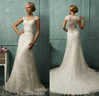 Lace Mermaid White Ivory Wedding dress Bridal Gown Custom Size6-8-10-12-14-16-18
