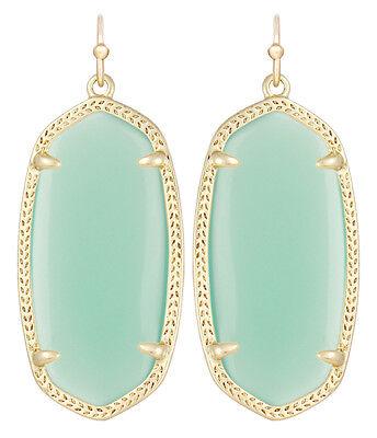 Kendra Scott Elle Earrings in Chalcedony Green Glass & Gold Plated
