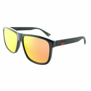 d4ca41eec Image is loading Gucci-GG0010S-002-Black-Plastic-Rectangle-Sunglasses-Orange -
