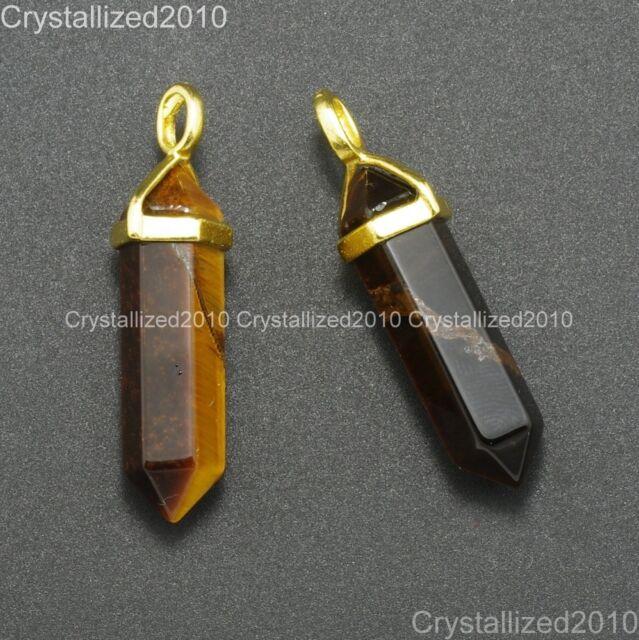 Gold Cap Natural Gemstone Hexagonal Pointed Reiki Chakra Healing Pendant Beads