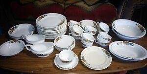 53-Piece-Vintage-C-P-Co-Crown-Potteries-Depression-Era-Floral-Dinnerware-Set