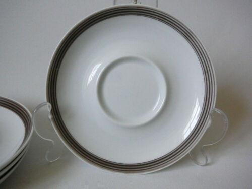 SCHÖNWALD Porzellan Unterteller weiß mit braunem Band  Ø 15 cm 60er 70er