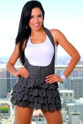 NEW Ruffle Neck Halter Dress Colors  Dark Gray .
