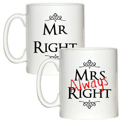 Mr & Mrs ALWAYS Right 10oz MUG Set marriage girlfriend wife anniversary NEW