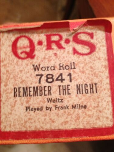 QRS Player Piano Word Roll 7841 Remember The Night Wlatz