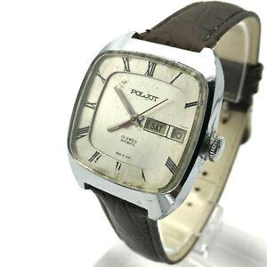 POLJOT-Square-Massive-Automatic-Calendar-USSR-English-Men-039-s-Watch-Engraving-80s