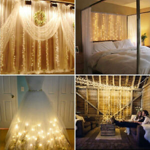 3 3m 300 led lichtervorhang lichterkette eisregen eiszapfen weihnachten au en ebay. Black Bedroom Furniture Sets. Home Design Ideas