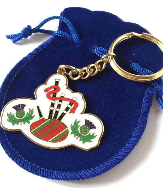 Scotland Bagpipes Enamel Keyring in Organza Gift Pouch Ideal Small gift (T620A)