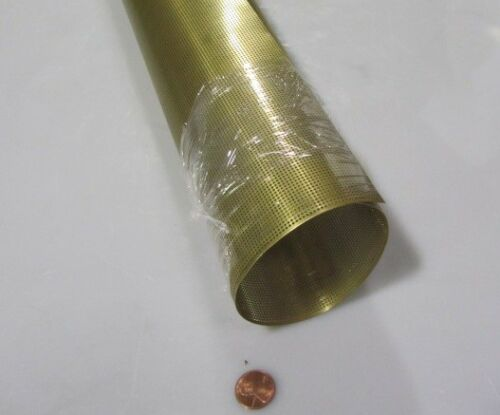 """.040/"""" Hole Dia. Brass Perforated Extra Thin Sheet .016/"""" Thick x 24/"""" x Per Ft/"""""""
