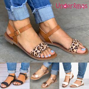 Womens Leopard print Ankle Strap