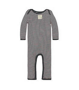 NWT-Burt-039-s-Bees-Baby-Girl-Coverall-Organic-Cotton-Classic-Stripes-Pink-amp-Gray