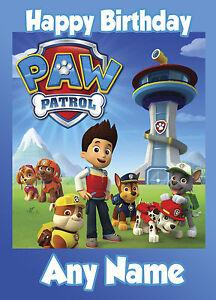 Cartes de voeux, papeterie Maison Paw Patrol-Personnalisé de carte d'anniversaire âge fils frère Neveu petit-fils