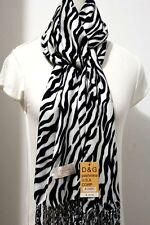 DG Women's Pashmina Scarf Shawl Wrap~Zebra Print-Black White/Silk Cashmere*Soft