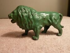"""A.C. Williams Cast Iron Standing Lion Coin Bank Green 5"""" Early 1900's Original"""