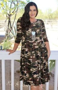 plus size pleated olive green camo camouflage army 3/4 midi dress 1x ...