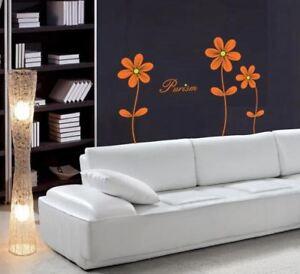 Wall Flower Silver Effet Mur Art Chambre Décoration Autocollante Mur Décor