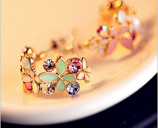 Women Gold Plated Multicolor Zircon Hoop Cluster Cuff Stud Earrings Ear Jewelry