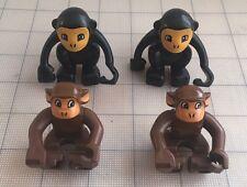 Lot Of 4 LEGO DUPLO Animal: :Monkey Chimp Figure Brown Black
