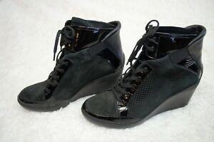 TSUBO Black Suede Leather Dess High Top Wedge Sneaker Boots 10 US 8.5UK 1002503