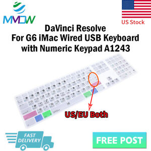 DaVinci-Resolve-Hotkey-Silicone-Keyboard-Cover-for-iMac-G6-Numeric-Keypad-A1243
