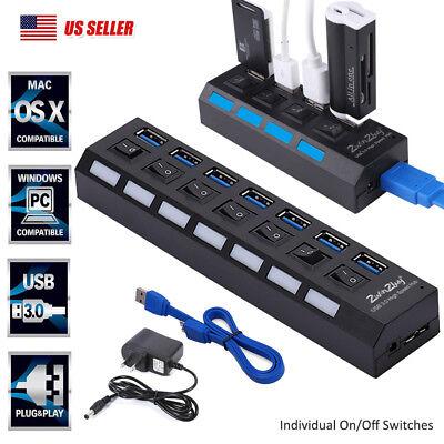 2.0 Power Hub Independent Switch USB Adapter 7 Ports Splitter Hub Power Switch
